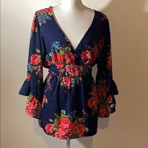 Betsy Johnson XL Navy floral fit and flare top